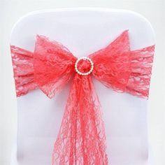 5pc x JOLLY GOOD Lace Chair Sashes - Coral |  Chair sashes play a very important role in heightening the elegance and sophistication of any event's décor. They add color, dimension, and texture to ordinary banquet chairs, which is where your guests will spend a considerable part of the evening. Our classical lace chair sashes bring that vintage touch to your party settings that many couples seek to achieve, with a homey feel and relaxed mood, your guests will surely have the best time…