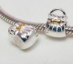 A 11 Shopping Purse Handbag with Gold Plated Bow .925 Sterling Silver Bead Pandora Chamilia Biagi
