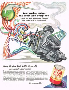 1950s BIG Vintage BORIS ARTZYBASHEFF Demon Chemistry Lab Engine Art Print AD f