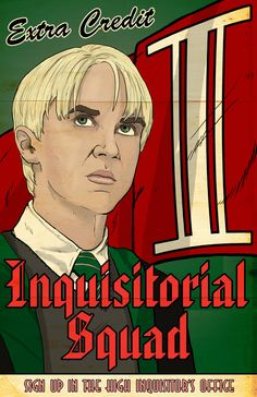 in my Potter Propaganda Posters. I had planned on doing a Order of the Phoenix or a Dumbledores Army first but my friend Michael suggested The Inquisitorial Squad. Since Tom Felton is (supposedl. Harry Potter Fan Art, Harry Potter Hogwarts, Hogwarts Library, Propaganda Art, 30 Birthday, Retro Posters, Tom Felton, Escape Room, Sci Fi Art