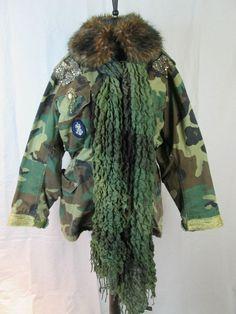 Camouflage Army Coat Fully lined Custom Decorated - Badges XL #Handmade #BasicCoat