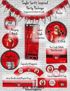 """Taylor Swift """"RED"""" Party Pack Printable, Customized with Party Details Taylor Swift Party, Taylor Swift Birthday, Taylor Swift Red, Taylor Swift Pictures, Red Birthday Party, 12th Birthday, Red Party Decorations, Rock Star Party, Happy Birthday Banners"""