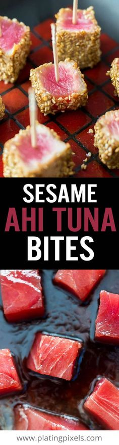 Sesame Seared Ahi Tuna Bites are a fresh and healthy party appetizer. Marinade in soy sauce, sesame oil and ginger, coat in sesame seeds and sear. Keep center rare and serve with toothpicks and dipping sauce. - www.platingpixels.com (please buy sustainably caught fish)