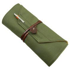 Enveloop pencil case from Bundoki. Canvas exterior, suede interior.
