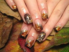 Fall Gold Leaf Nail design from Sarah's Beauty Confessions