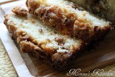 Apple Pie Bread  1/2 - cup butter, softened  1/2 - cup granulated sugar  1/2 - cup packed brown sugar  1/3 - cup buttermilk  2 - teaspoons baking powder  2 - eggs  1 - teaspoon vanilla extract  2 - cups all purpose flour  1/2 - teaspoon apple pie spice  1/2 teaspoon salt  2 - cups peeled apples, diced  3/4 - cup pecans, chopped  streusel - nut topping