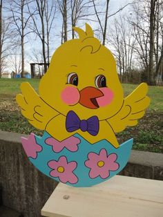 We have been making quality yard art for over 20 years since 1993!!! This listing is for One Yellow Chick Easter yard art lawn decoration. All our Yard Art is hand-crafted by us. My husband hand cuts each item and preps it for me and I hand sand, prep, hand paint and seal each