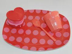 Ovaler Teller Dots rot-pink from Speicher und Scheune