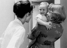 Audrey Hepburn with her son Sean and Shirley MacLaine on the set of ''The Children's Hour'', 1961.