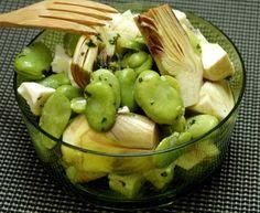 Salade de fèves et artichauts petits violets #Marmiton #feve #artichaut #feta #recettesduqc