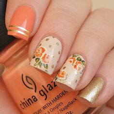 Items similar to Rusty orange roses nail decals/ Orange rose stickers/ Nail water decals/ Nail stickers/ Floral nail decorations/ Nail art supplies/art. Diy Nails, Cute Nails, Pretty Nails, Nail Art Designs, Orange Nail Designs, Rose Nail Art, Rose Nail Design, Nails Design, Bride Nails