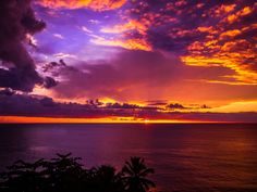 """Sunset from Corcega Beach, Rincón, Puerto Rico   Photo """"Sunset to the Heavens ~Atardecer hasta el cielo~ """" by Kev"""