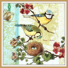 PAPER napkins for DECOUPAGE - Vintage Great Tit Family Bird Nest #399 by VintageNapkins on Etsy