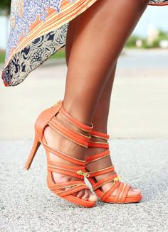 Coral Zipper Heels <3 CO cUte!