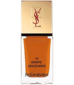 """La Laque Couture Spicy Collection """"Ambre Gingembre"""", Yves Saint Laurent http://www.vogue.fr/beaute/buzz-du-jour/diaporama/ongles-24-carats-signes-yves-saint-laurent/17050#!la-laque-couture-spicy-collection-quot-ambre-gingembre-quot-yves-saint-laurent-22-50-e"""