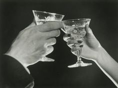 Man and Woman Toasting Martini Glasses, Close Up of Hands Photographic Print