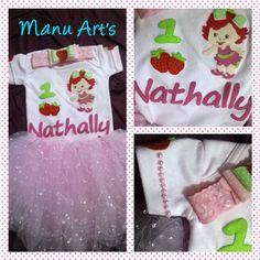 Conjunto Moranguinho Baby Body+saia+faixa de cabelo