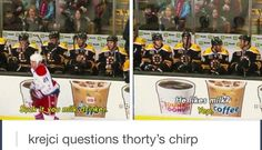 Shawn Thornton and David Krejci chirping #Bruins #Humor