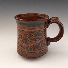 Wax Design Mug-Blaisdell Pottery-Earthen Vessel Gallery – In-house Factory Clay Mugs, Ceramic Mugs, Ceramic Bowls, Ceramic Art, Stoneware, Slab Pottery, Pottery Mugs, Ceramic Pottery, Thrown Pottery