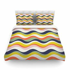 East Urban Home Rainbow Stripes Stripe by Gukuuki Featherweight Duvet Cover Size: Full/Queen
