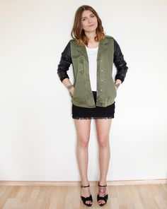 Army Jacket With Leather Sleeves + Fringed Skirt (by MAGDALENA .) http://lookbook.nu/look/3366763-Army-Jacket-With-Leather-Sleeves-Fringed-Skirt