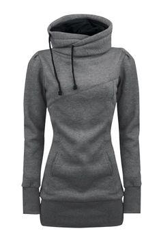 Women's Solid Turtle Neck Long Sleeve Kangaroo Pocket Sweatshirt AZBRO.com