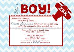 Airplane theme baby shower invite :)