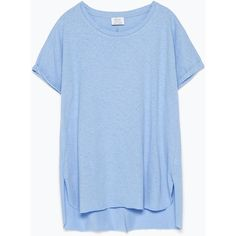 Zara Basic T-Shirt ($20) ❤ liked on Polyvore featuring tops, t-shirts, dresses, shirts, light blue, basic tees, light blue t shirt, light blue top, blue tee and blue top