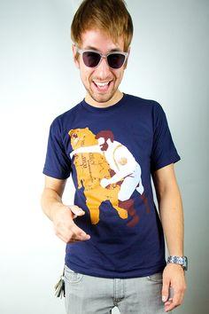 Man Punching Bear  American Navy TShirt  Available by sharpshirter, $21.00