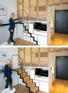 Simple Tiny House Layout Ideas - Page 13 of pull out stairs ~ Zoku, Tiny Studio Apartment building, AmsterdamTiny House Stairs Tiny House Movement // Tiny Living // Tiny House on Wheels // Traveling Tiny House // Dream Big Live Tiny // Tiny Home Home Design, Tiny House Design, Home Interior Design, Design Ideas, Studio Design, Interior Ideas, Tiny House Layout, Studio Layout, Studio Studio