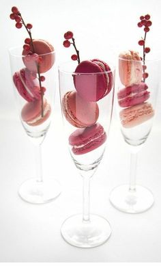 Stack macaroons into champagne glasses for a simple favour for guests to enjoy plus they can reuse their glass by filling it with champagne or prosecco after #celebrate...x
