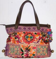 AMAZING Handbag Vintage Embroidered Cloth Hmong Bag - Genuine Leather Strap