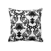 Black and White Tulip Damask Pattern Throw Pillows $59.95