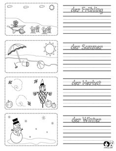 Spring Printouts German ~ German for Kids ~ www.chillola.com