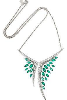 Shaun Leane Aerial 18-karat white gold, emerald and diamond necklace   NET-A-PORTER