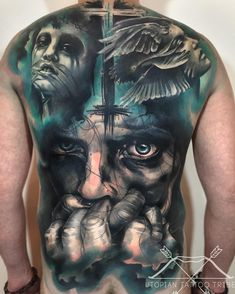 Outstanding Good Vs Evil Watercolor Tattoo On Full Back