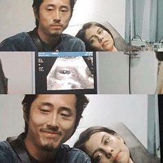 Glenn (Steven Yeun) and Maggie (Lauren Cohan) see their baby for the first time.