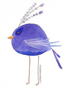 Erika Barriga - Lavender Bird Watercolor