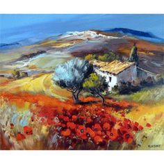 Galerie Art Sud - Juin en Haute Provence Abstract Landscape, Landscape Paintings, Z Arts, Colorful Paintings, Flower Photos, New Art, Painting & Drawing, Poppies, Oil On Canvas