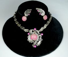 Necklace & Earrings | Margot de Taxco. Sterling silver and Rose Quartz.  ca. 1960s.