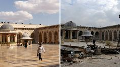 A combination picture shows Aleppo's Umayyad mosque in Syriaon before it was damaged (left), on October and after it was damaged (right) during the Syrian Civil War, on December Syria Country, Syria Now, Syria Before And After, Umayyad Mosque, Syrian Civil War, Democracy Now, New Pictures, Taj Mahal, Street View