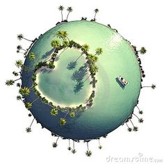Planet with heart shaped island