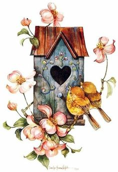 no cost summer bird house illustration style and design : These free birdhouse plans include all you need to create a birdhouse to your yard. You will discover detailed instructions, diagrams, photos, and mat. House Illustration, Illustrations, Vintage Clip Art, Vintage Wallpaper, Decoupage Vintage, Bird Drawings, Bird Pictures, Bird Art, Birdhouse