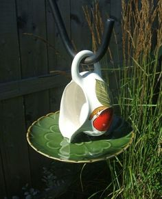 DIY bird bath by bettye                                                                                                                                                      More