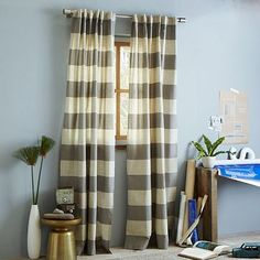 Cotton Canvas Bold Stripe Curtain – Plaster #westelm...stripes stripes stripes