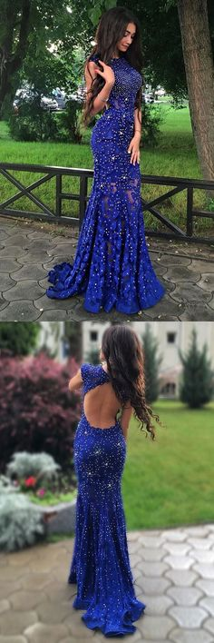 Prom Dress Fitted, Luxurious Mermaid Jewel Sleeveless Open Back Sweep Train Lace Prom Dress With Beading There are delicate lace prom dresses with sleeves, dazzling sequin ball gowns, and opulently beaded mermaid dresses. Blue Lace Prom Dress, Mermaid Prom Dresses Lace, Royal Blue Prom Dresses, Open Back Prom Dresses, Prom Dresses 2018, Lace Mermaid, Dress Long, Prom Gowns, Mermaid Style
