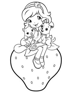 Strawberry Shortcake Coloring Pages - Strawberry Shortcake is a cool animated movie character originally used in greeting cards, but who was later extended to incorporate dolls, posters, a. Coloring Pages For Girls, Cartoon Coloring Pages, Coloring For Kids, Colouring Pages, Coloring Sheets, Coloring Books, Pintar Disney, Strawberry Shortcake Coloring Pages, Cool Animations