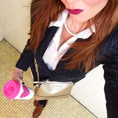 Feeling all business-y today!!  Wearing my jacket from @hm, jeans are from @bebe purse is @katespadeny and sporting my tumbler from @thetrendysparrow.  My lip matte is from the one and only @Colourpop1 in More Better with the LBD lip pencil.