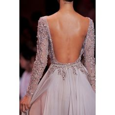 2014 Light Grey Long Sleeves Formal Prom Gown With Beading - Prom Dresses - Wedding Dresses