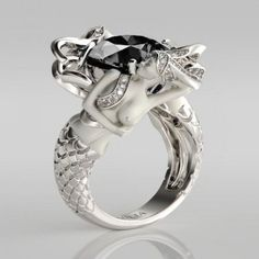 ☘ Uŋιqυℯ ℐℯⱳℯℓℓℯɾỿ  Cushion Cut  Black Diamond Rhodium Plated Sterling Silver Women's  Mermaid Engagement Ring